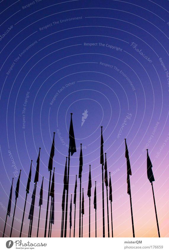 Windstill. Himmel dunkel Ausstellung Japan Politik & Staat Klima Zukunft Fahne Symbole & Metaphern Hotel Sitzung Aussicht Wirtschaft Teamwork Messe Fahnenmast