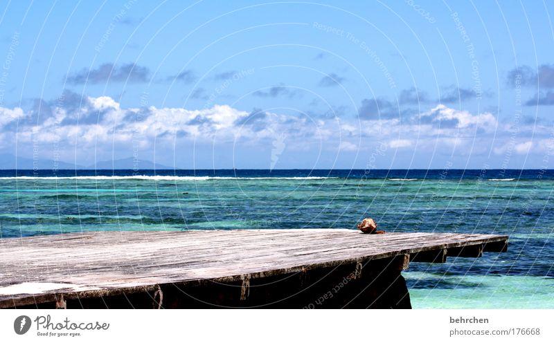 gefährlich Himmel blau Sonne Strand Ferien & Urlaub & Reisen Meer Wolken Einsamkeit Ferne Freiheit träumen Wellen Zufriedenheit Zusammensein Horizont Insel