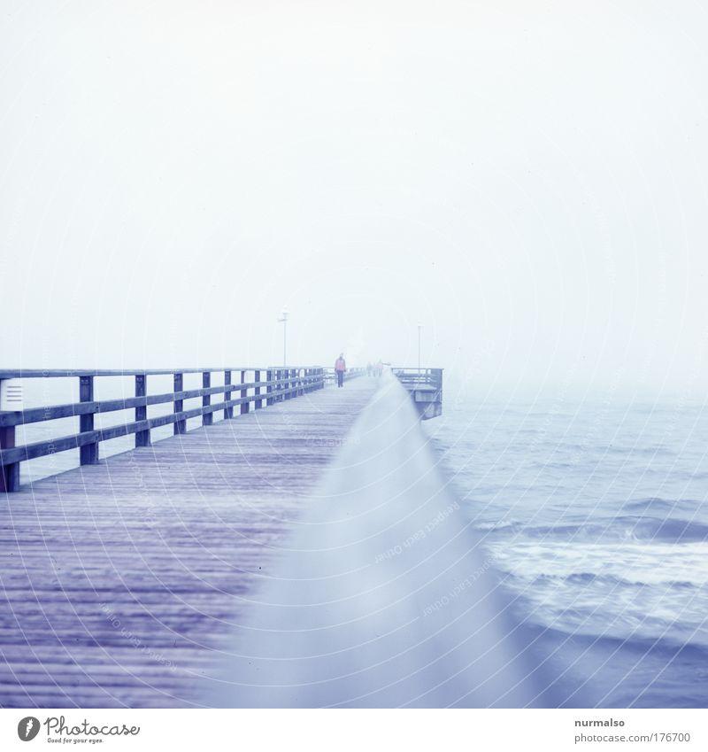 Kalter Brückenschlag Farbfoto Gedeckte Farben Morgen Licht Joggen wandern Natur Landschaft Sand Wasser Horizont Winter schlechtes Wetter Nebel Eis Frost Küste