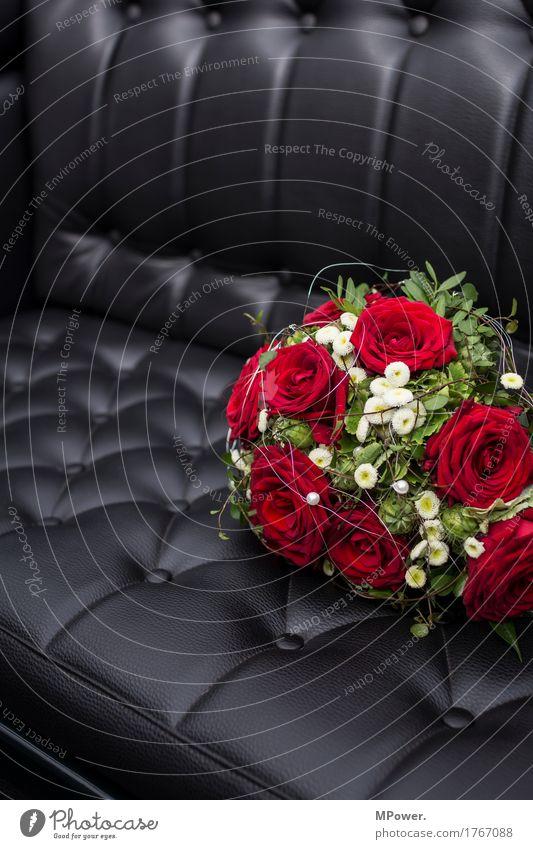 hochzeitsstrauß Leder rot schwarz Hochzeit Hochzeitstag (Jahrestag) Ledersessel Rose Blumenstrauß Valentinstag Geschenk Feste & Feiern Rosenblüte Rosenblätter