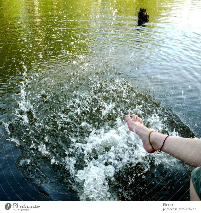 Wasserspiele Farbfoto Außenaufnahme Textfreiraum oben Tag Licht Kontrast Reflexion & Spiegelung Mensch Junge Frau Jugendliche Beine Fuß Umwelt Natur Seeufer