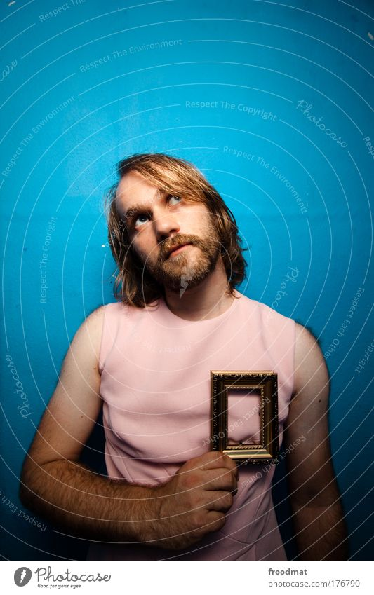 heart of gold Mann Jugendliche blau Liebe Glück Haare & Frisuren lustig Erwachsene rosa maskulin verrückt Hoffnung retro Kitsch
