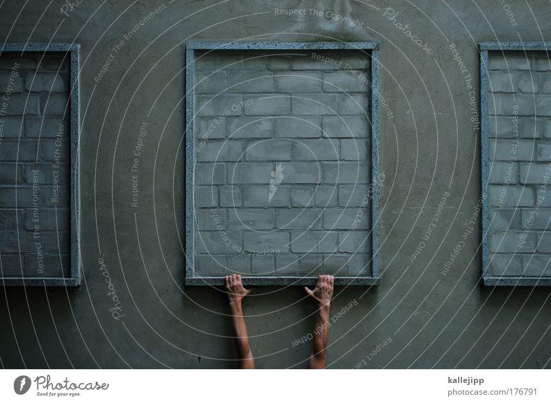 schwedische gardinen Farbfoto Gedeckte Farben Außenaufnahme Detailaufnahme Tag Totale Mensch maskulin Mann Erwachsene Arme Hand Finger 1 Fassade Fenster