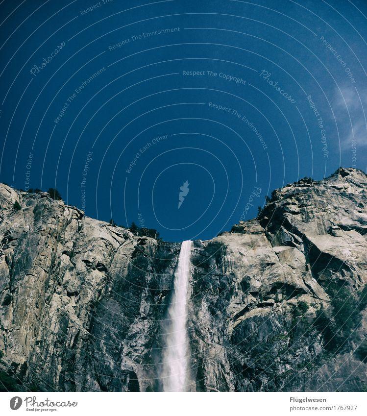 Wasserfall Yosemite NP Ferien & Urlaub & Reisen Tourismus Ausflug Abenteuer Ferne Freiheit Umwelt Natur Landschaft Klima Hügel Felsen Berge u. Gebirge Gipfel