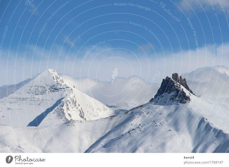markanter Berg in der Schweiz Himmel Natur Ferien & Urlaub & Reisen blau weiß Sonne Erholung Wolken ruhig Ferne Winter Berge u. Gebirge Schnee Freiheit Felsen Freizeit & Hobby