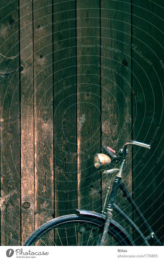 Drahtesel in Lauerstellung alt Ferien & Urlaub & Reisen schön Freude ruhig schwarz Leben Gefühle Bewegung braun außergewöhnlich Fahrrad Freizeit & Hobby dreckig authentisch Coolness