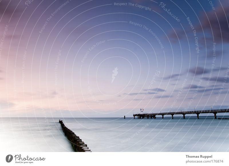 Seebrücke Natur Wasser Himmel Meer blau Strand ruhig Wolken Landschaft Wellen Küste Umwelt groß Horizont violett Nachthimmel