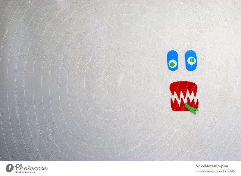 Glotz nicht so! grün blau Gesicht Wand lustig verrückt Papier bizarr Zettel durcheinander Grimasse