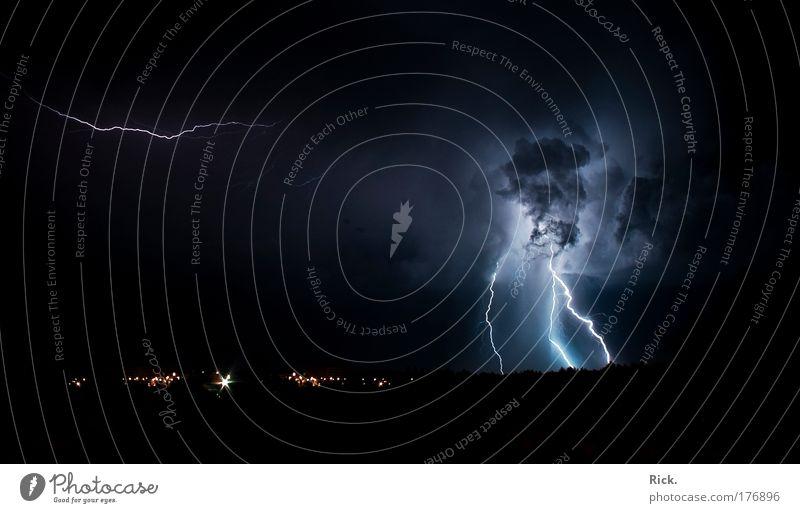 .Wärmegewitter 2.0 Menschenleer Textfreiraum links Textfreiraum unten Nacht Lichterscheinung Panorama (Aussicht) Energiewirtschaft Umwelt Natur Landschaft Luft