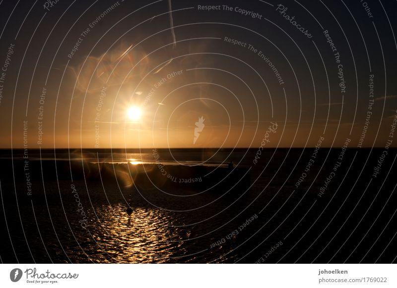 Lichtblick Wasser Wassertropfen Himmel Wolkenloser Himmel Sonne Sonnenaufgang Sonnenuntergang Sonnenlicht Sommer Meer Nordsee Ärmelkanal glänzend