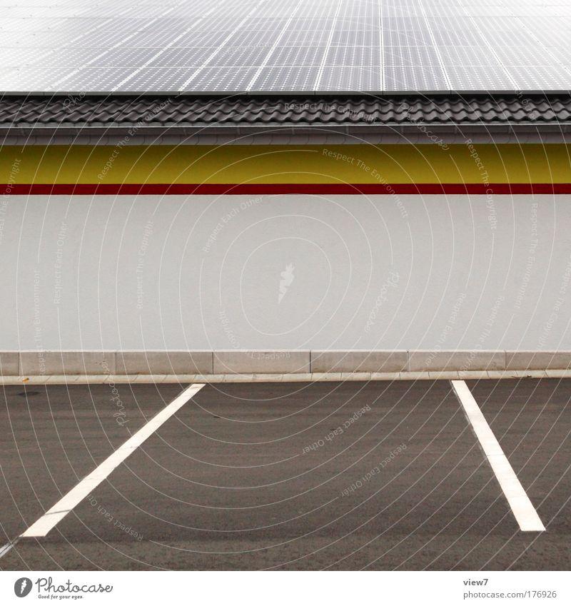 Solar Supermarket rot Sonnenenergie Haus gelb Straße Stein Linie Raum glänzend Wohnung Beton groß Verkehr Fassade Industrie modern