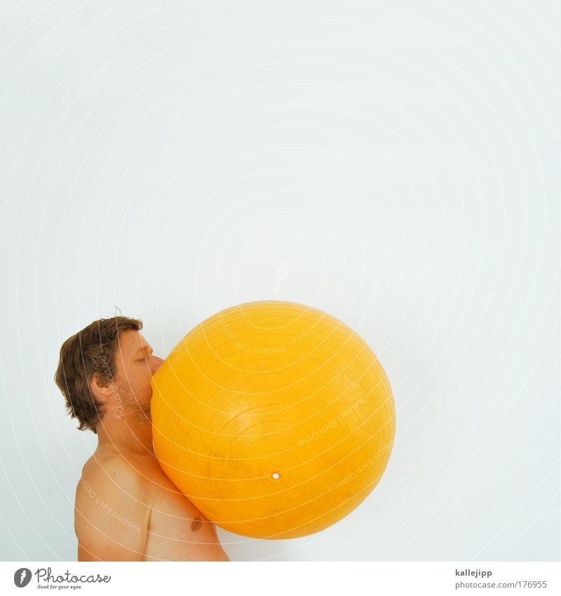 frühstücksei Farbfoto mehrfarbig Innenaufnahme Studioaufnahme Textfreiraum oben Tag High Key Oberkörper Profil Lebensmittel Ernährung Lifestyle Ball maskulin