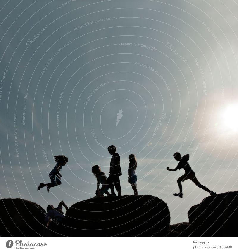come together Mensch Kind Natur Jugendliche Ferien & Urlaub & Reisen Mädchen Umwelt Leben Spielen Junge springen Menschengruppe Freundschaft Kindheit