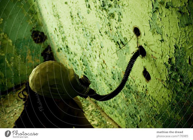 EIN MAUERSCHNÜFFLER grün Farbe dunkel Wand Kopf Gebäude Mauer Luft maskulin trist bedrohlich Fabrik Schutz verfallen skurril Verbindung