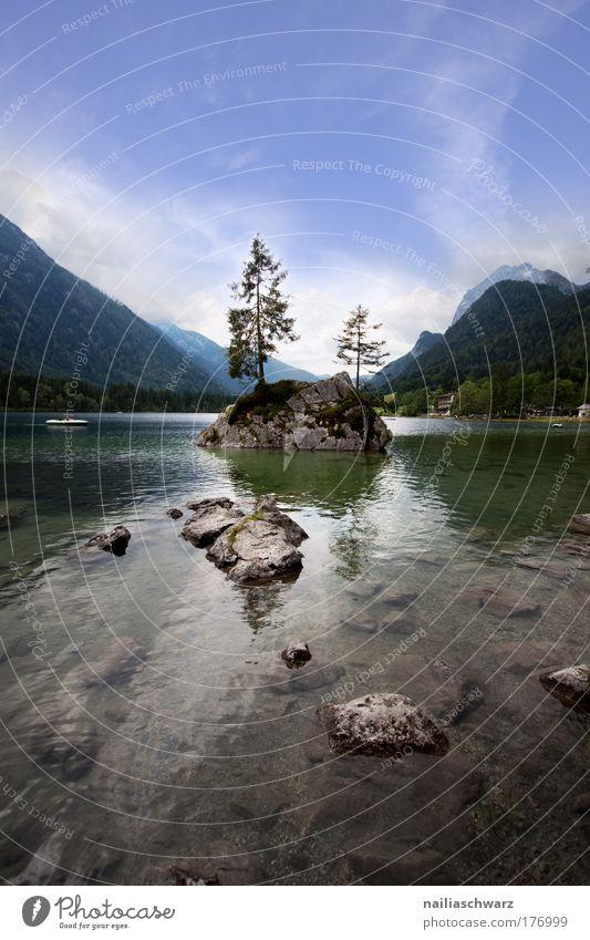 Am Hintersee Natur Wasser Himmel Blume grün blau Pflanze Sommer Ferien & Urlaub & Reisen Wolken Wald Berge u. Gebirge Stein See Landschaft braun