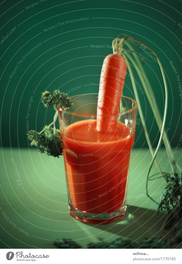 karottenbowle grün Gesunde Ernährung Gesundheit orange Getränk Gemüse Bioprodukte Vegetarische Ernährung Diät Möhre Petersilie Bowle