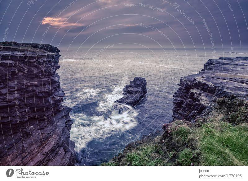 Das Finden im Augenblick Landschaft Urelemente Wasser Felsen Wellen Küste Meer Insel Republik Irland Klippe groß wild Horizont Natur Farbfoto Gedeckte Farben