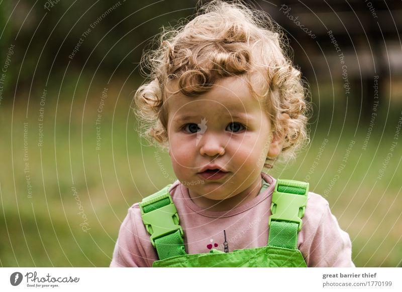 Kleine Baumeisterin Mensch Kind Sommer grün schön Mädchen feminin Glück Garten Haare & Frisuren Kopf Arbeit & Erwerbstätigkeit blond Kindheit einzigartig