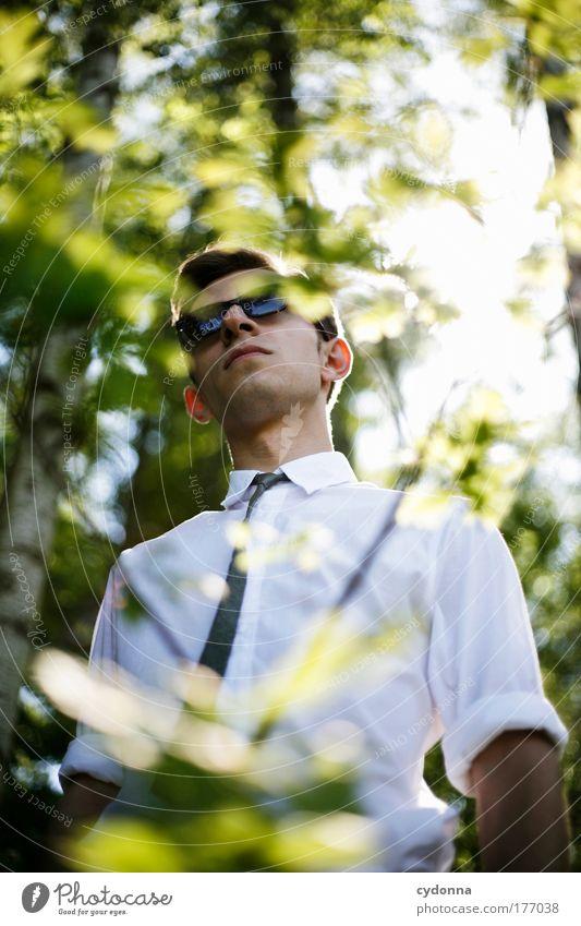 Mittagspause im Grünen Mensch Mann Natur Jugendliche schön ruhig Wald Leben Freiheit Gefühle Umwelt Stil Bewegung träumen Erwachsene Zufriedenheit