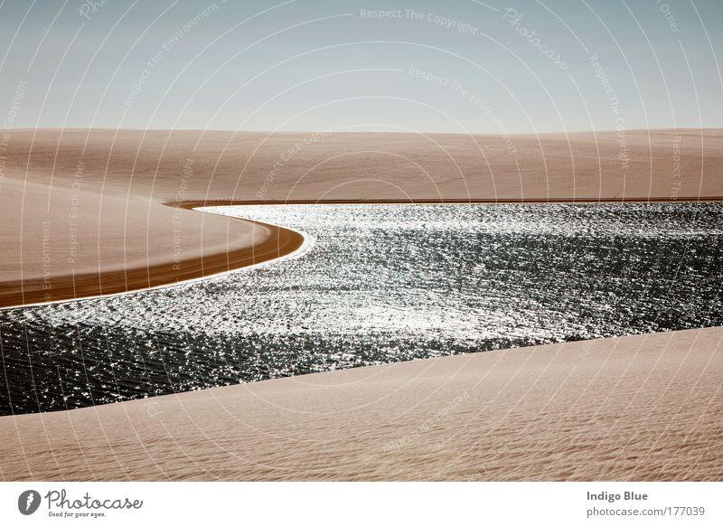 Himmel Natur Wasser schön Sonne Sommer Strand Ferien & Urlaub & Reisen Erholung Landschaft Sand träumen Traurigkeit Stimmung hell Zufriedenheit