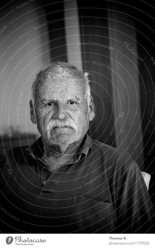 Schwarzweiss Portrait Mensch Mann alt Erwachsene Senior Kopf maskulin Männlicher Senior Altersversorgung Pension