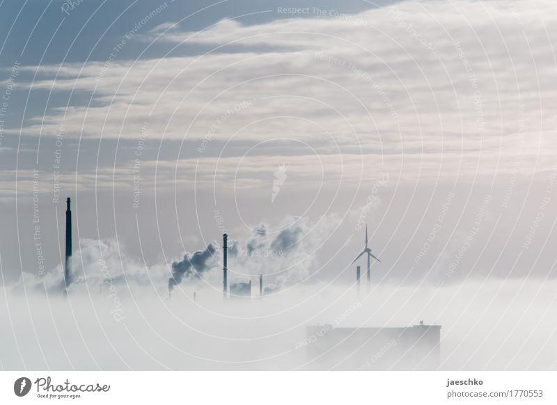 Durchbruch Himmel Stadt Landschaft Wolken Horizont Wetter Nebel Wachstum Klima Schönes Wetter Wandel & Veränderung Skyline Rauch Fabrik Wirtschaft Schornstein