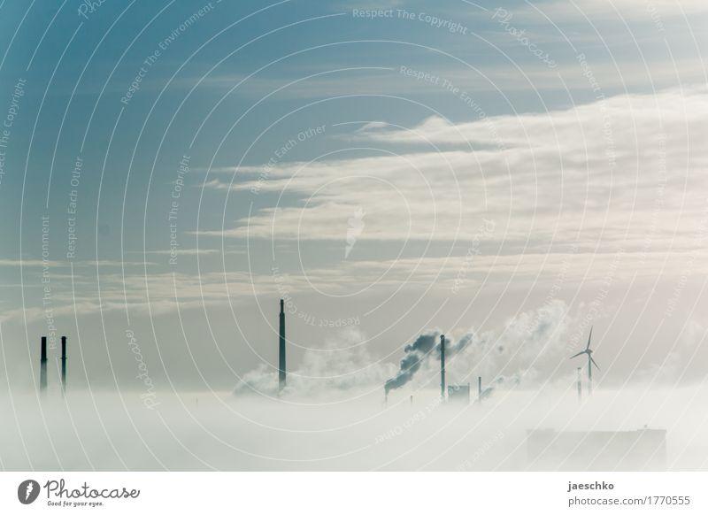 Durchbruch II Himmel Wolken Umwelt Wetter Nebel Energiewirtschaft Zukunft Industrie Unendlichkeit Skyline Rauch Fabrik Windkraftanlage Wirtschaft Schornstein
