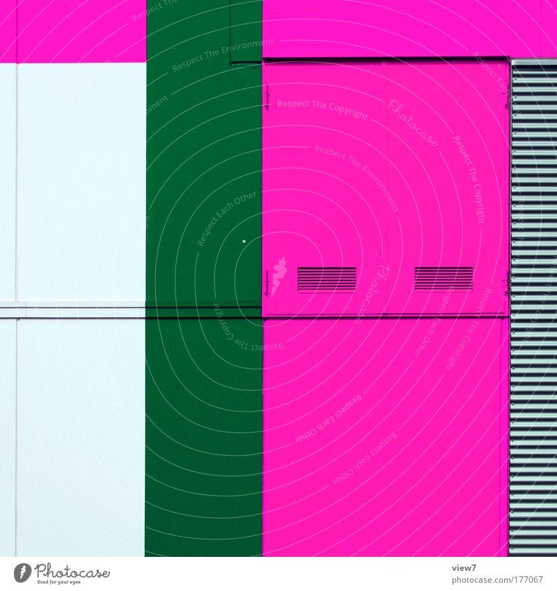 graphic pink. grün Haus Farbe Wand Mauer Metall rosa Design Schilder & Markierungen groß hoch Fassade Geschwindigkeit Fröhlichkeit ästhetisch einfach
