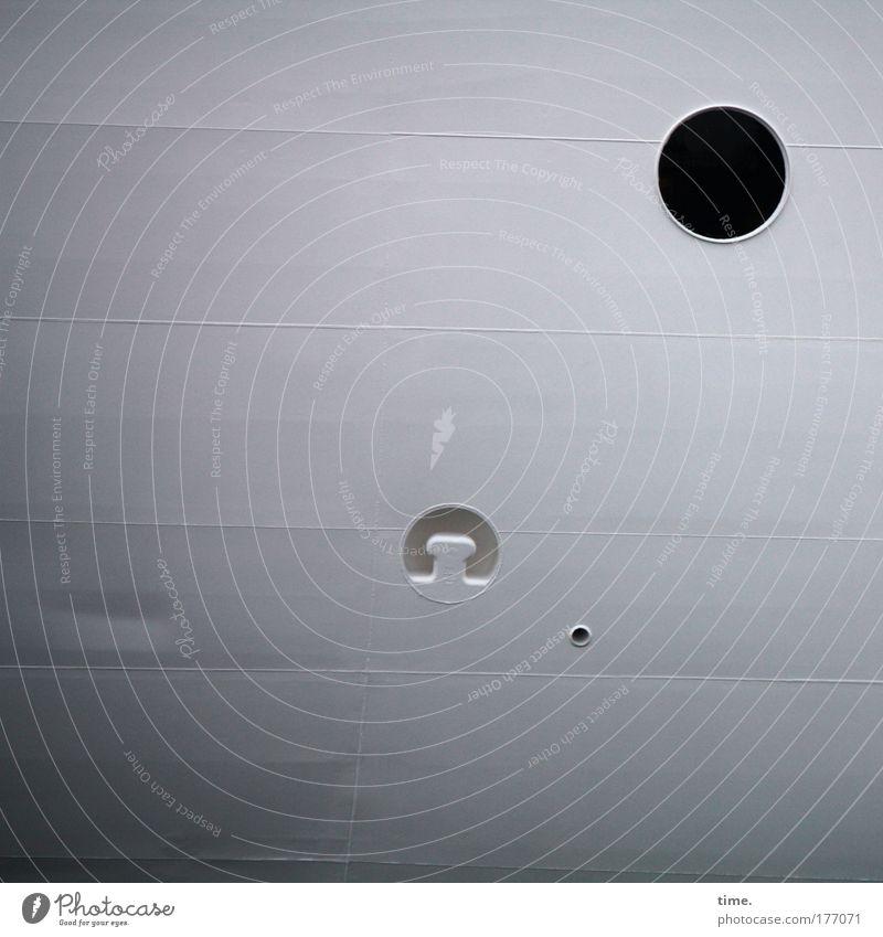 [KI09.1] - Maritimes Dreigestirn schwarz grau Wasserfahrzeug 3 rund Abfluss parallel Naht Belüftung Vorrichtung Luftloch Bordwand