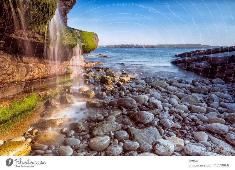 Wie die Zeit Ferien & Urlaub & Reisen Natur Landschaft Wasser Himmel Schönes Wetter Moos Felsen Küste Meer Insel Republik Irland Wasserfall Stein schön blau