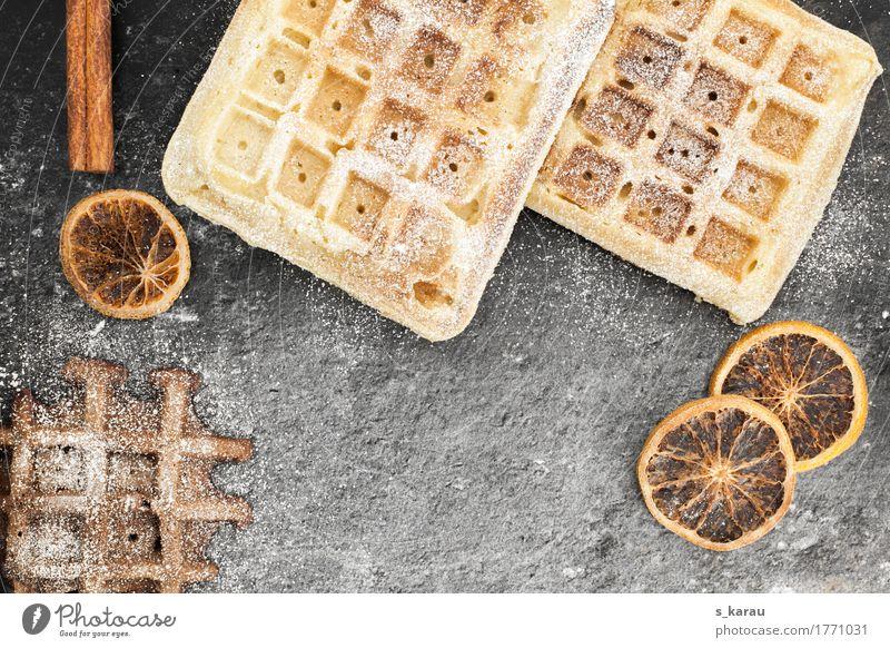 Winterwaffeln Foodfotografie Hintergrundbild Lebensmittel grau braun Orange genießen süß Süßwaren Duft Dessert Kuchen Backwaren Schokolade Teigwaren