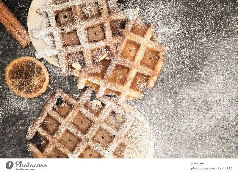 Belgische Schokoladenwaffeln Lebensmittel Teigwaren Backwaren Dessert Süßwaren Kaffeetrinken genießen lecker Waffel Winter Puderzucker Zimt süß Vanille