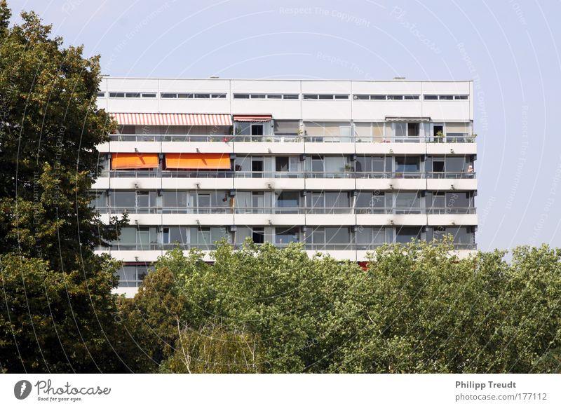 Versteckt blau Stadt Park Fassade hoch Hochhaus Schutz Balkon Hauptstadt gigantisch Stadtrand bevölkert Hochhausfassade
