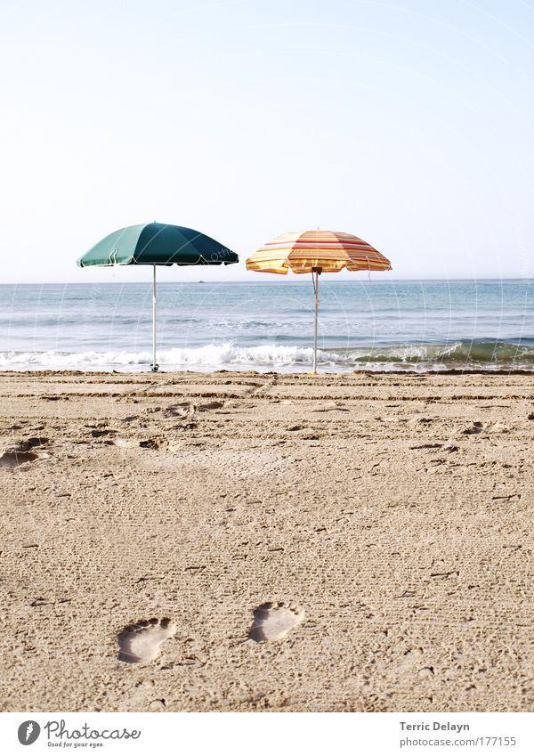 Auf dem Weg zum Strand Himmel Natur Wasser Ferien & Urlaub & Reisen Sommer Meer Freude ruhig Ferne Landschaft Sand Küste Horizont Zufriedenheit Wellen