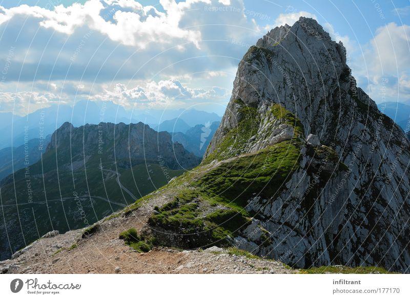 am Mangart Himmel Natur blau schön Sonne Sommer Ferien & Urlaub & Reisen Wolken ruhig Ferne Erholung Berge u. Gebirge Landschaft Umwelt träumen Luft