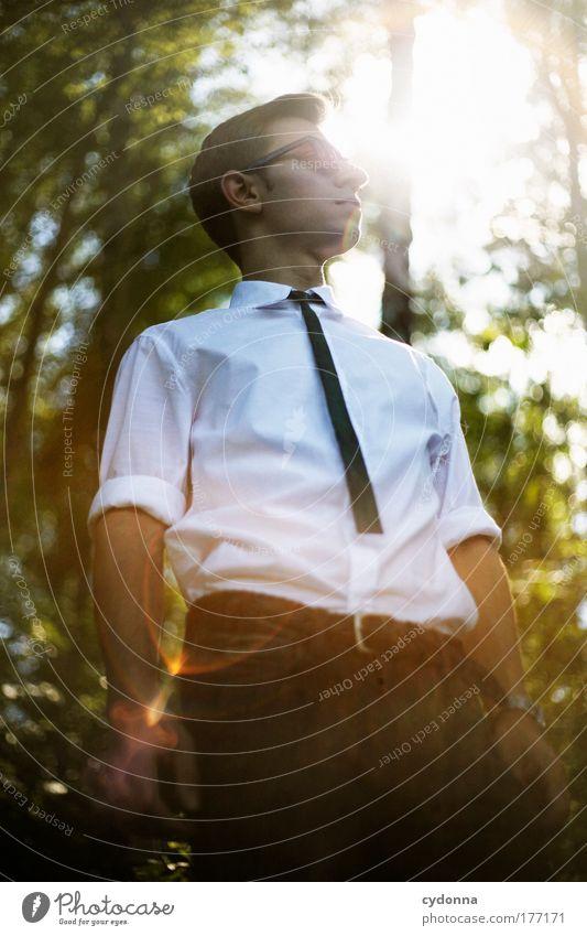 Auf der Sonnenseite des Lebens Mensch Mann Natur Jugendliche schön Wald Umwelt Stil träumen Erwachsene Arbeit & Erwerbstätigkeit Freizeit & Hobby elegant Mode