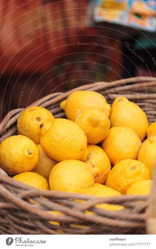 Frische gelbe Zitronen in einem Obstkorb Lebensmittel Frucht Ernährung Essen Gesundheit Gesunde Ernährung Wellness Pflanze Baum gold Bauernmarkt Landwirtschaft