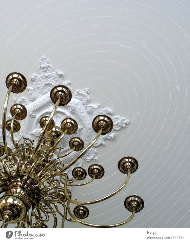 Kronleuchter schön alt weiß Lampe Stil Metall glänzend Gold Design elegant gold ästhetisch Dekoration & Verzierung Häusliches Leben einzigartig außergewöhnlich
