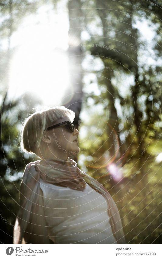 Bessere Hälfte Mensch Frau Natur Jugendliche schön ruhig 18-30 Jahre Wald Erwachsene Umwelt Leben Traurigkeit Gefühle Bewegung Stil Lifestyle