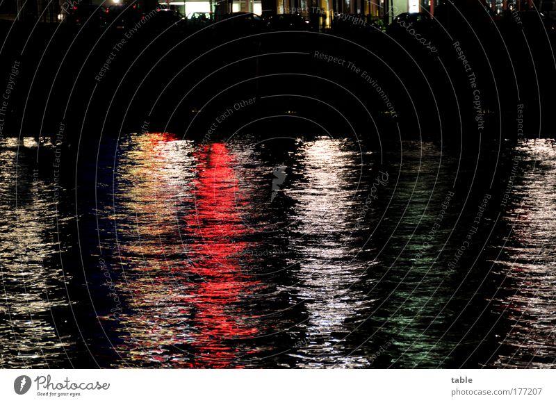 CityNightLight Wasser weiß Stadt rot schwarz gelb Traurigkeit Stimmung Wellen Energiewirtschaft Tourismus Fluss Wandel & Veränderung Neugier