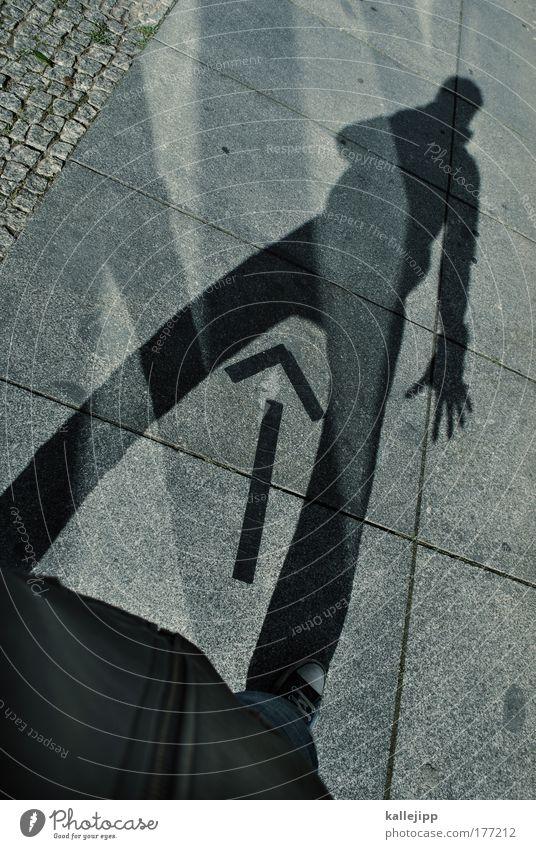 jacke wie hose Mann Mensch Jacke Pfeil Hose Schatten Sonne Licht Ego Orientierung Navigation Richtung maskulin Genitalsystem Geschlecht
