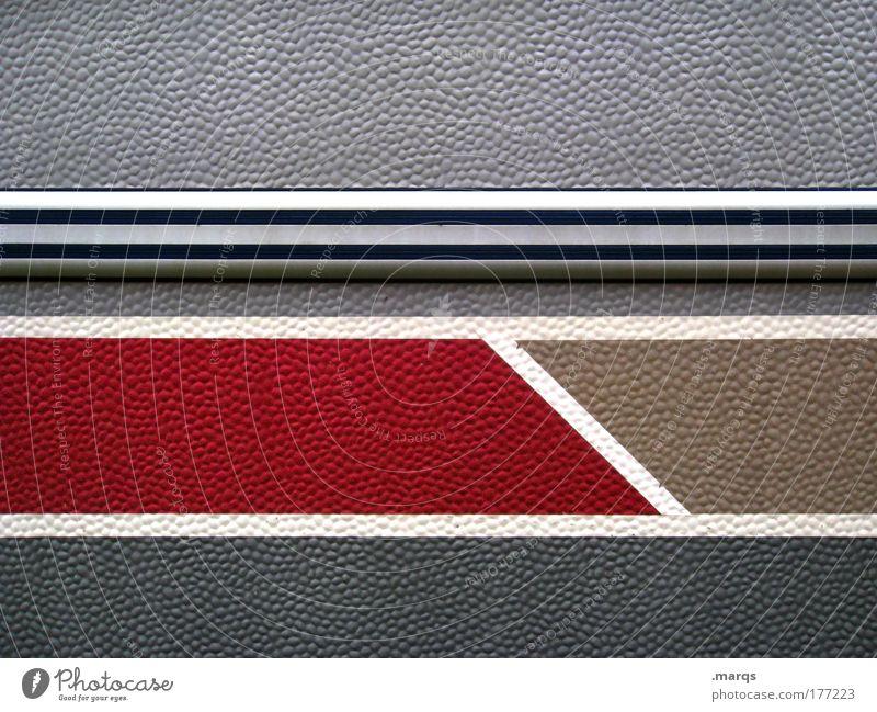 Abschnitt Gedeckte Farben abstrakt Muster Strukturen & Formen Design Mauer Wand Fassade Linie Streifen einfach hässlich einzigartig nerdig mehrfarbig grau rot