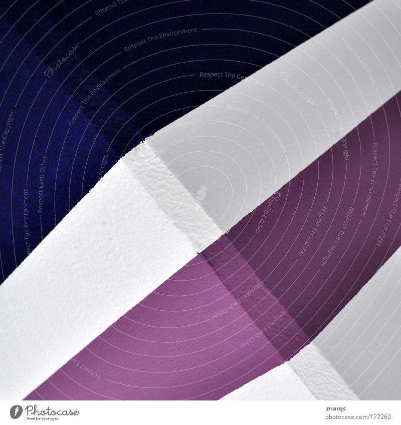 Simple Farbfoto abstrakt Muster Design Architektur Beton Linie Streifen eckig einfach Erfolg blau violett weiß Grafik u. Illustration Strukturen & Formen Ecke