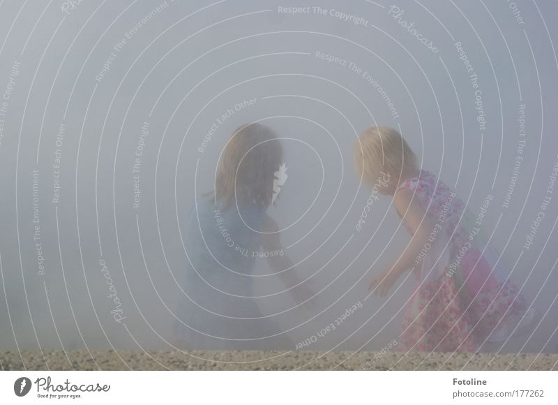 Versteckspiel Farbfoto Außenaufnahme Textfreiraum links Textfreiraum oben Tag Mensch Kind Mädchen Geschwister Kindheit Haare & Frisuren Rücken Arme Hand 2 Erde