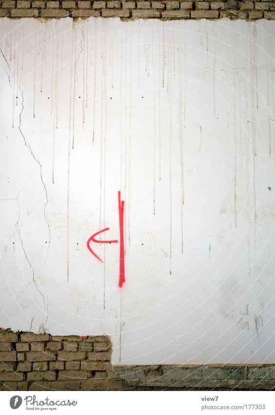 <-| alt rot Haus Wand Stein Mauer Raum Beton Schilder & Markierungen Fassade Ordnung trist retro Kommunizieren authentisch Baustelle