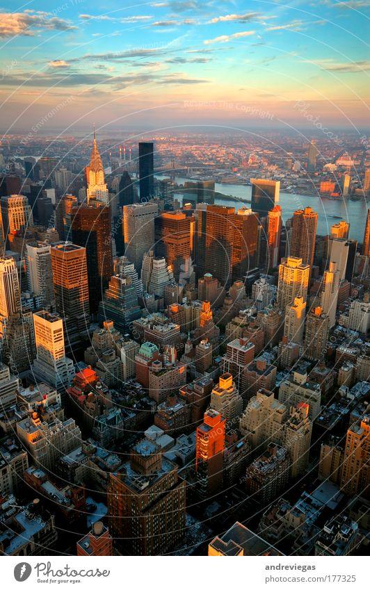 Stadt Architektur Vogelperspektive Sonnenaufgang Skyline Stress New York City trendy New York State Sehenswürdigkeit gigantisch USA Luftaufnahme überbevölkert