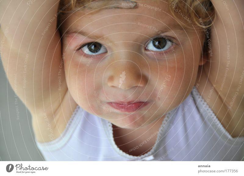 3 Jahre Leben Farbfoto Innenaufnahme Porträt Blick Blick in die Kamera Kind Kleinkind Mädchen 1 Mensch 1-3 Jahre 3-8 Jahre Kindheit entdecken Lächeln Spielen
