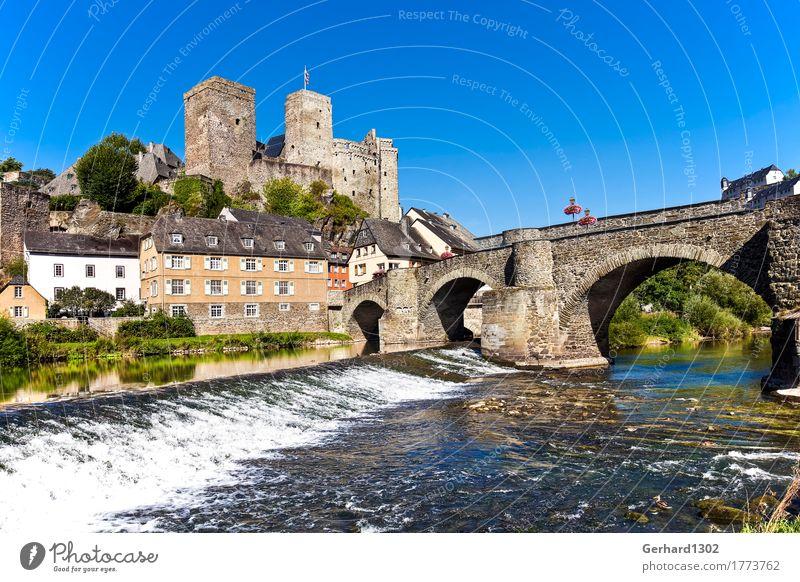 Schloss und Dorf Runkel an der Lahn Natur Ferien & Urlaub & Reisen Wasser Erholung Berge u. Gebirge Architektur Tourismus wandern Brücke Fluss Fahrradtour