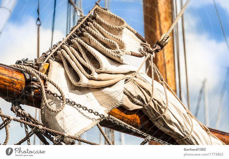 Segel am Vorstag eines historischen Segelschiffes in Kappeln Freizeit & Hobby Ferien & Urlaub & Reisen Tourismus Ausflug Natur Wasser Wind Hafenstadt