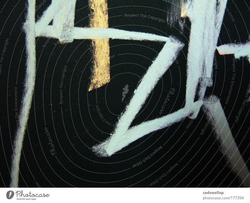 ac_1ts Kunst Maler Kunstwerk ästhetisch Kreativität Kreide Tafel Entwurf hell-blau gelb schwarz Zickzack Duktus Farbfoto abstrakt